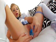 Blonde princess deep dildoing her anus