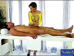 Sexy masseuse masturbates and blowjobs clients hard cock