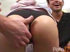 Hot ass chick gangbanged and facialised