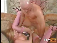 Blonde goes down on his cock and then gets drilled for a mouthful