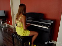 Hot petite brunette masturbates on camera for the first time
