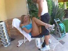 Delicious teen Delilah Strong fucked in her backyard