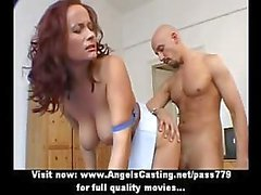 Adorable wonderful redhead and brunette lesbian couple doing tits massage