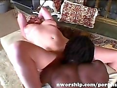 hot blonde slut with big tits into interracial sex with a big black cock
