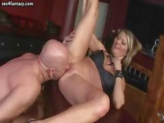 Blonde give blowjob and riding