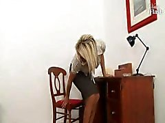 Wild speedy sister with a lecherous wrinkle teases and masturbates in the office