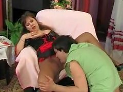 Guy fucks mature maid in pantyhose