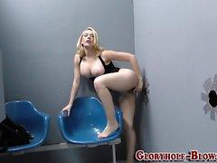 Blonde tugs ebony cock