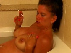 mature smoking bath