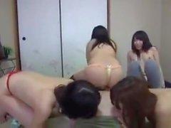4 Japanese Girls Facesitting Lucky Guy