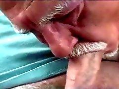 Gamla mannen Sucking Cock av bil
