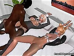 Two tied up 3D blonde babes taking a hard black cock