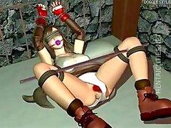 Hottie 3D hentai escravo é pego duro