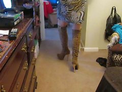 Amazing 6 inch spiked Heeled platform leopard print Boots.