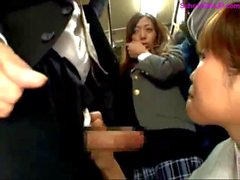 Asian Girl Giving Blowjob For Guy Cum To Mouth Swallowing Kissing With Schoolgirl On The Bus