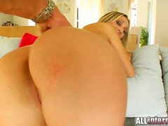 The slender and always sexy Cynthia takes on two guys. They