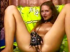 Awesome breezy slave girl with a feeble cunt plays with herself on her cam show