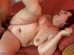 Curvy mom Hetty loves some naughty cock penetration on the sofa