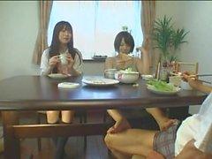 Japanese Under Table Footjob