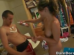 Racy dorm orgy with delightsome babes and studs