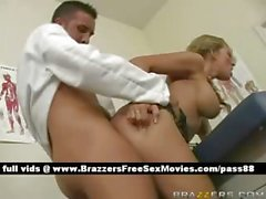 Sweet naked blonde babe on a hospital bed gets a blowjob