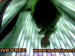 Solarium Blonde Teen fingers herself Voyeur solarium