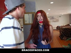 BraceFaced - Submissive Teen Gets Harness Fuckd Off