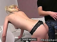 Slim blonde amater banged on casting POV