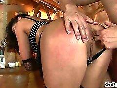 Brunette slut gets her tight asshole