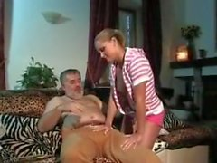 Teen jerks daddy and then sucks the cum