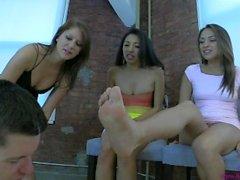 3 Girl Verbal Humiliation, Spit & Foot Worship.