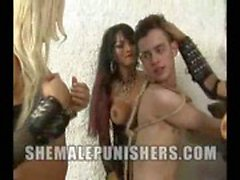 Trannies dominate their tied slave