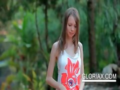 Shy teen cutie Gloria teasing her petite breast