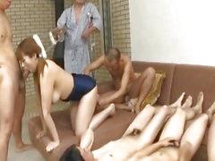 Myuu Hasegawa sucks and rides cocks in orgy