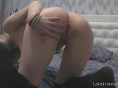 Desirable hottie in knee-socks loves to masturbate