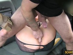 Wild fuck in the taxi with blondie chick