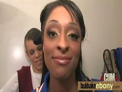 Ebony cutie sucks several dicks for a facial bukkake 5