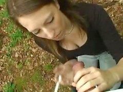 Suzie smokes cock and cigarette