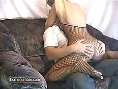 Blonde amateur GF in fishnet gets fucked