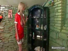 Nasty blond bitch gets cunt inspected part2