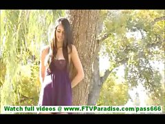 Tiffany lovely petite brunette with natural tits masturbating and walking naked outdoors