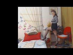 Housewife in mini dress and high heels