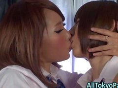 Asian teen les kissing
