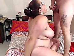 Chunky brunette fingers her twat and gets fucked hard by he