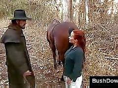 Redhead milf with hairy pussy loves outdoor sex