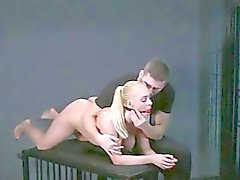 Huge tits blonde in bondage fingered and spanked