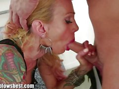 Blonde MILF Sarah Jessie is eating my man!