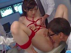 Sara Yurikawa stimulated in kinky bondage