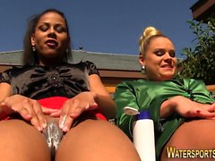 Lesbians peeing outdoors