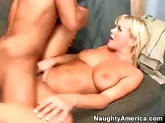 Blonde nympho babe Bree Olson gets naughty with a guy's dick